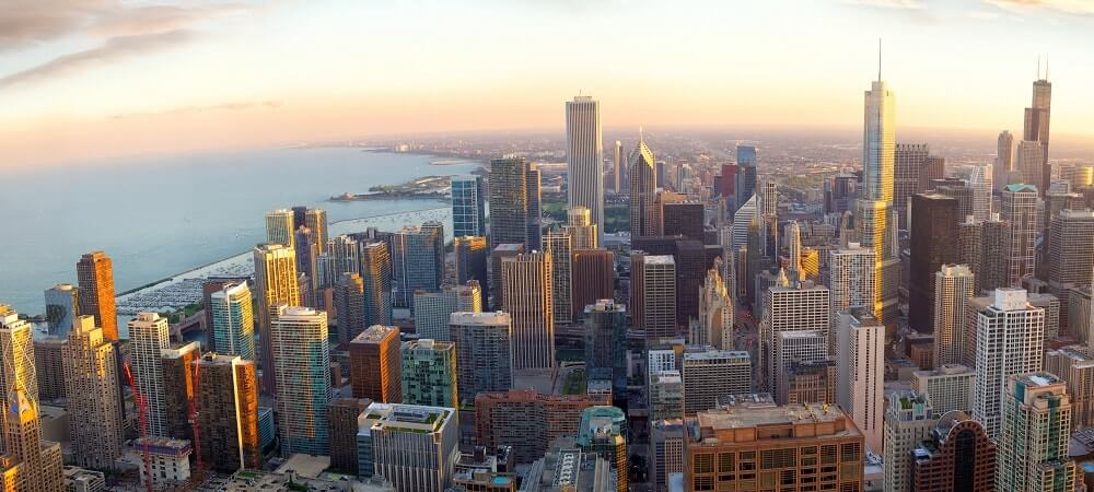 Aerial view of Chicago at sunset, IL, USA