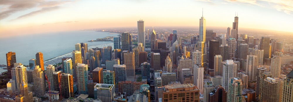 Aerial Chicago panorama at sunset, IL, USA