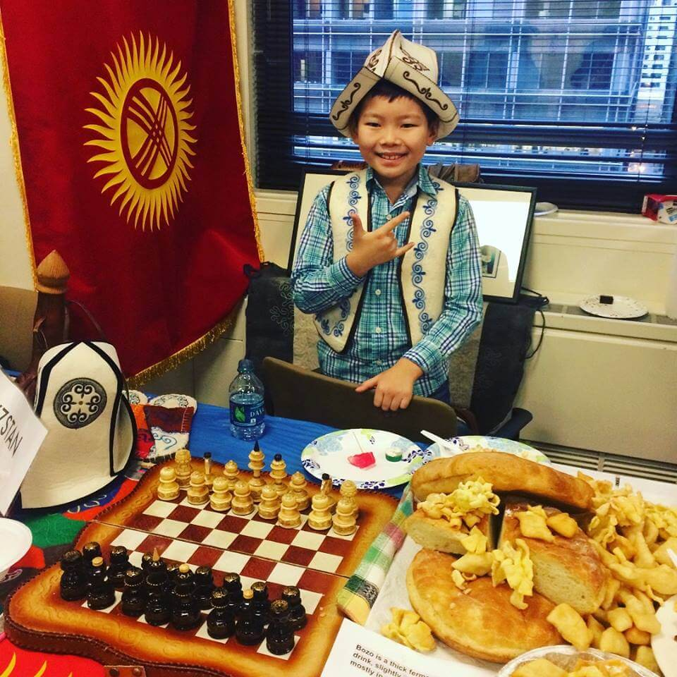 Chess board and food
