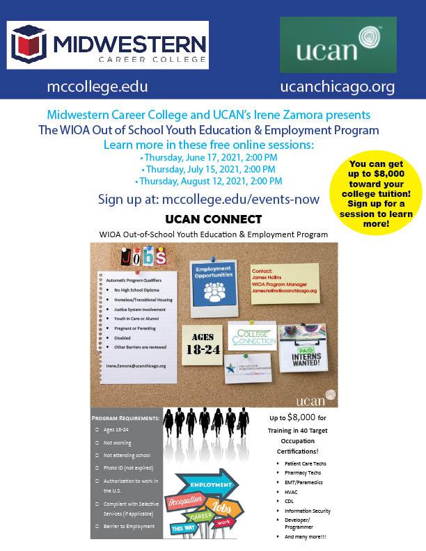 MCC WIOA UCAN Summer 2021 Workshops Flyer